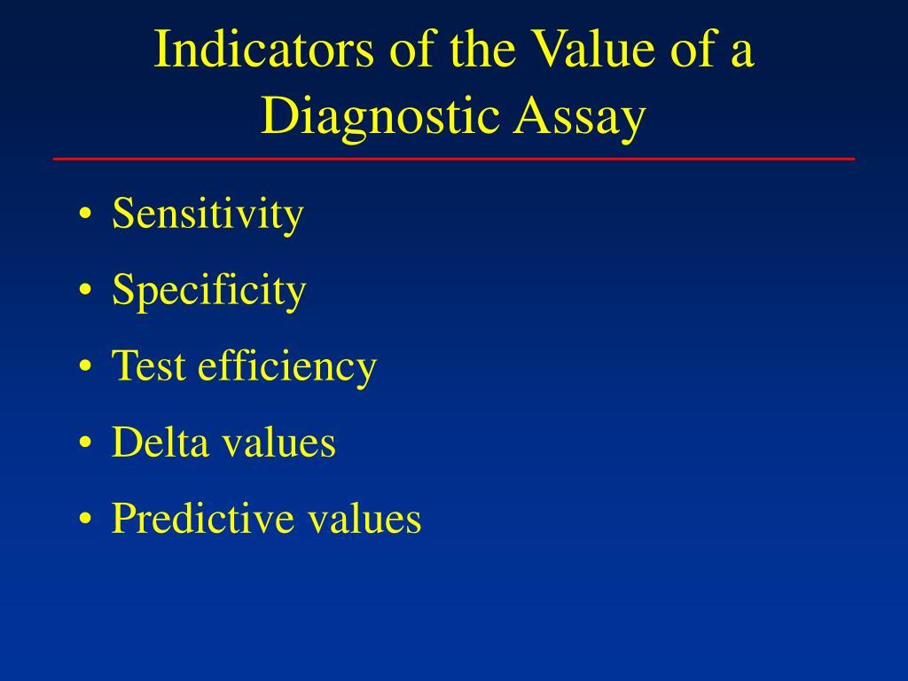 Indicators of the Value of a Diagnostic Assay