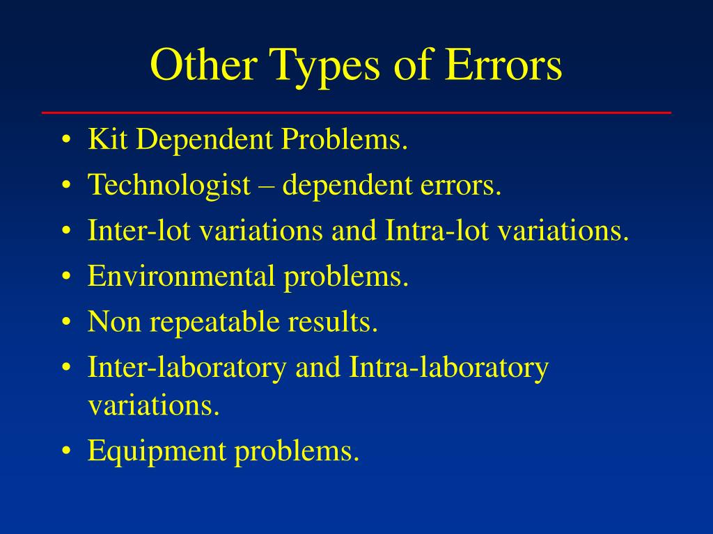 Other Types of Errors