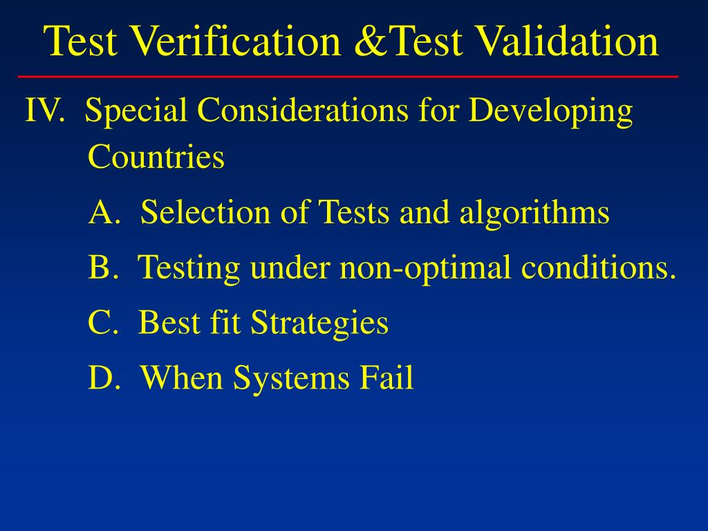 Test Verification &Test Validation