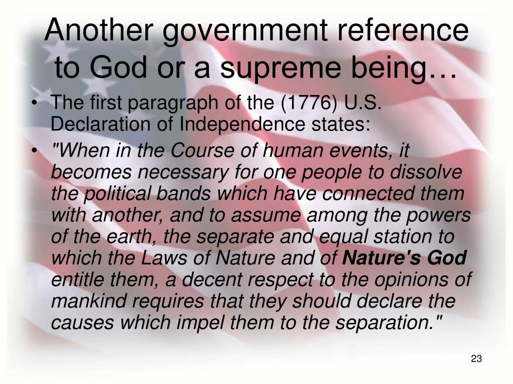 Another government reference to God or a supreme being…