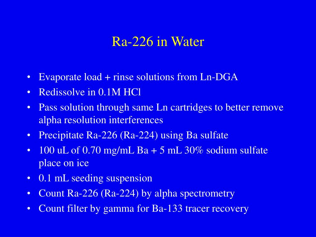 Ra-226 in Water