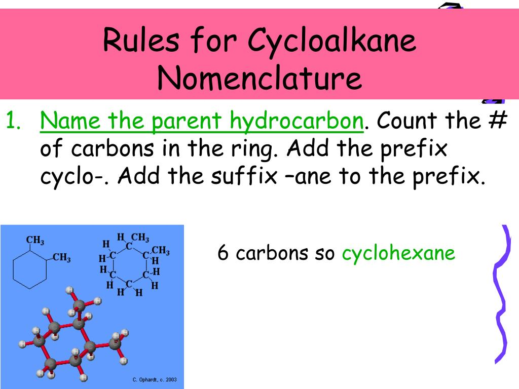 Rules for Cycloalkane Nomenclature