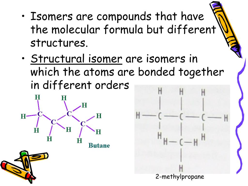 Isomers are compounds that have the molecular formula but different structures.