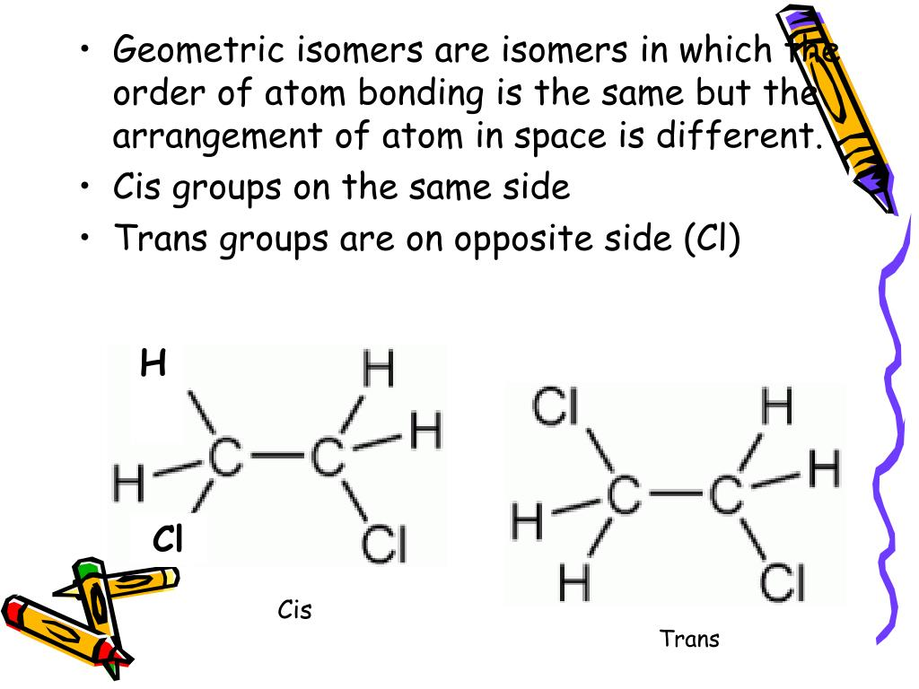 Geometric isomers are isomers in which the order of atom bonding is the same but the arrangement of atom in space is different.
