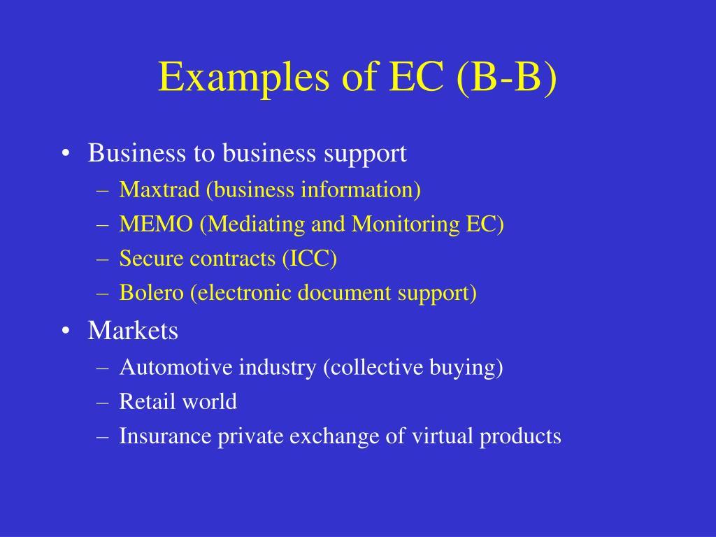 Examples of EC (B-B)