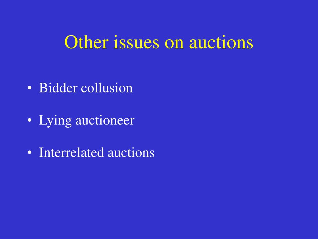 Other issues on auctions