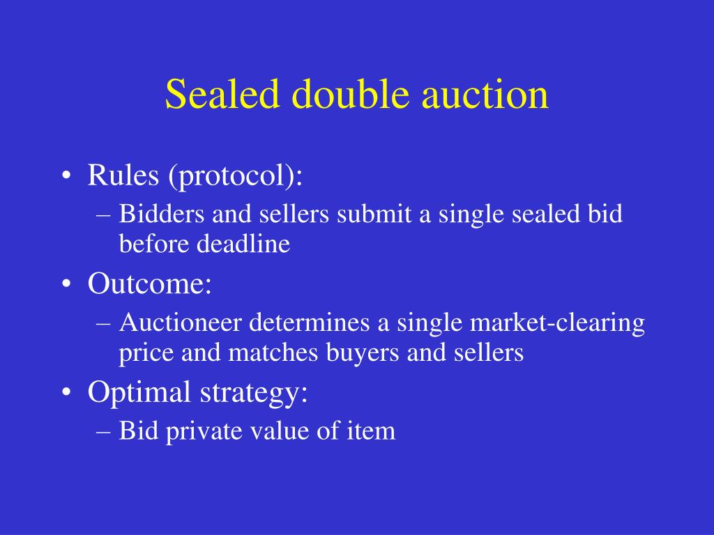 Sealed double auction