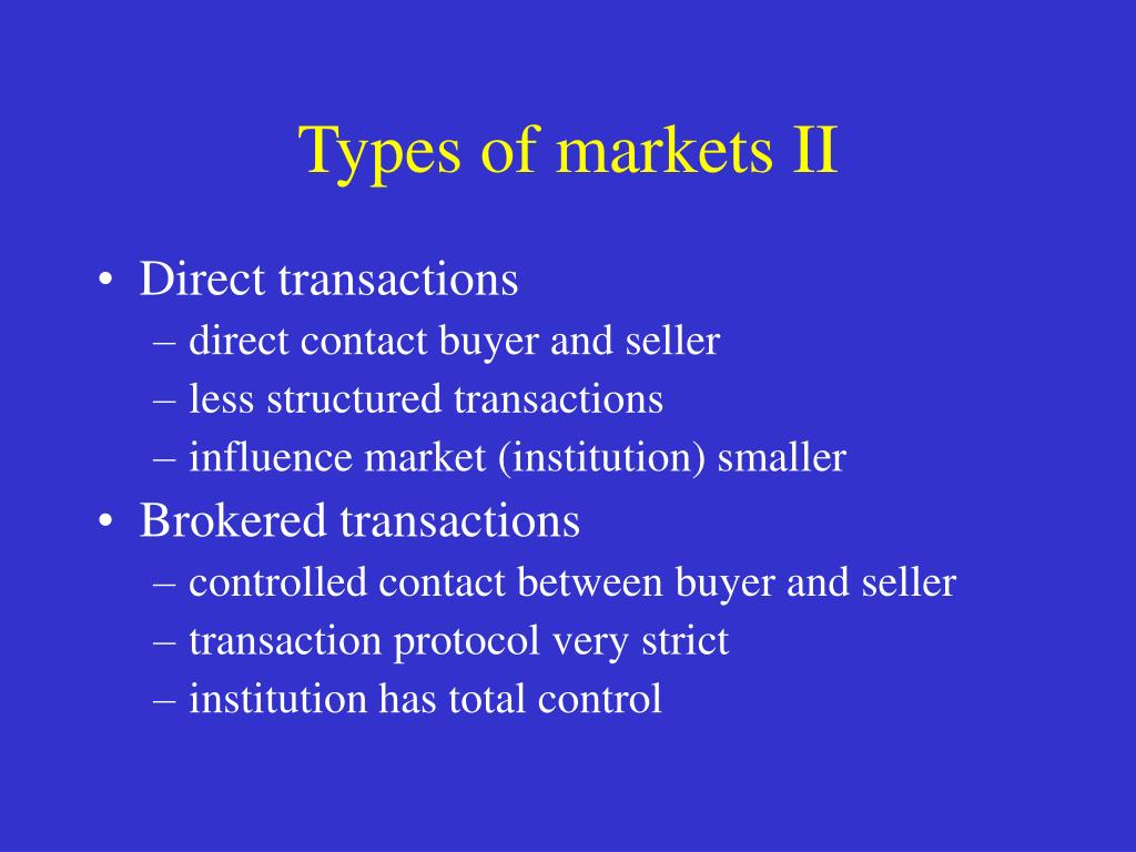 Types of markets II
