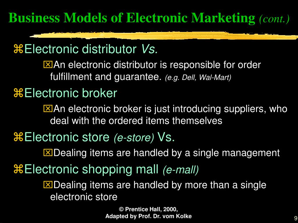 Business Models of Electronic Marketing