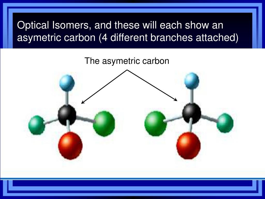 Optical Isomers, and these will each show an asymetric carbon (4 different branches attached)