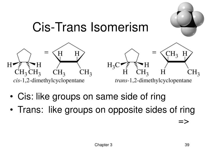 Cis: like groups on same side of ring