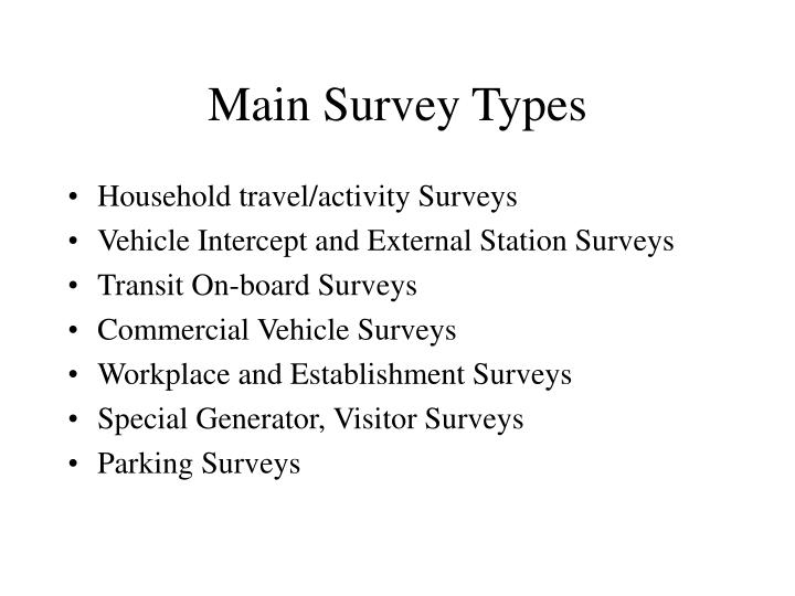 Main survey types