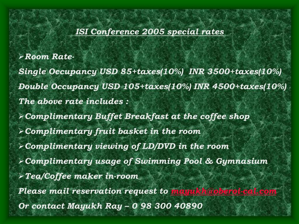 ISI Conference 2005 special rates
