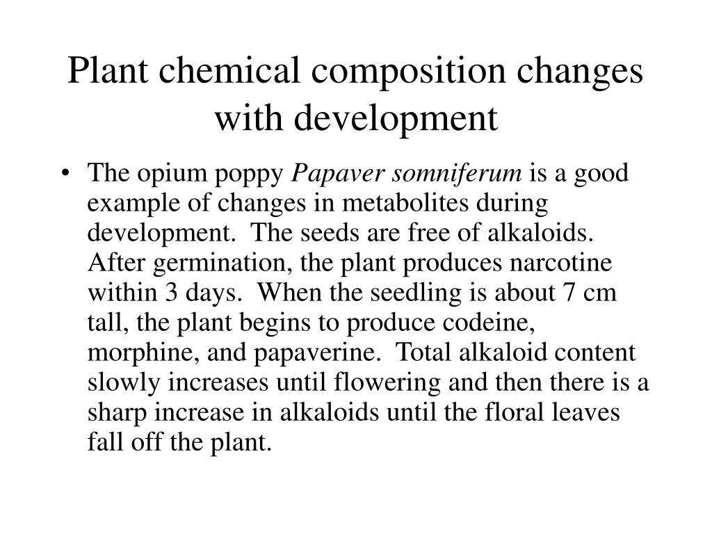 Plant chemical composition changes with development