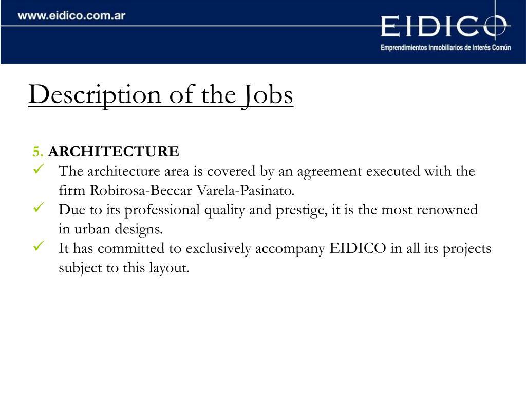 Description of the Jobs