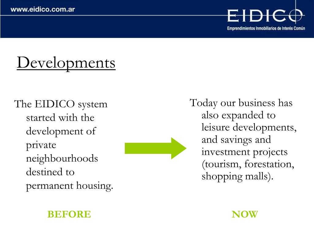 The EIDICO system started with the development of private neighbourhoods destined to permanent housing.