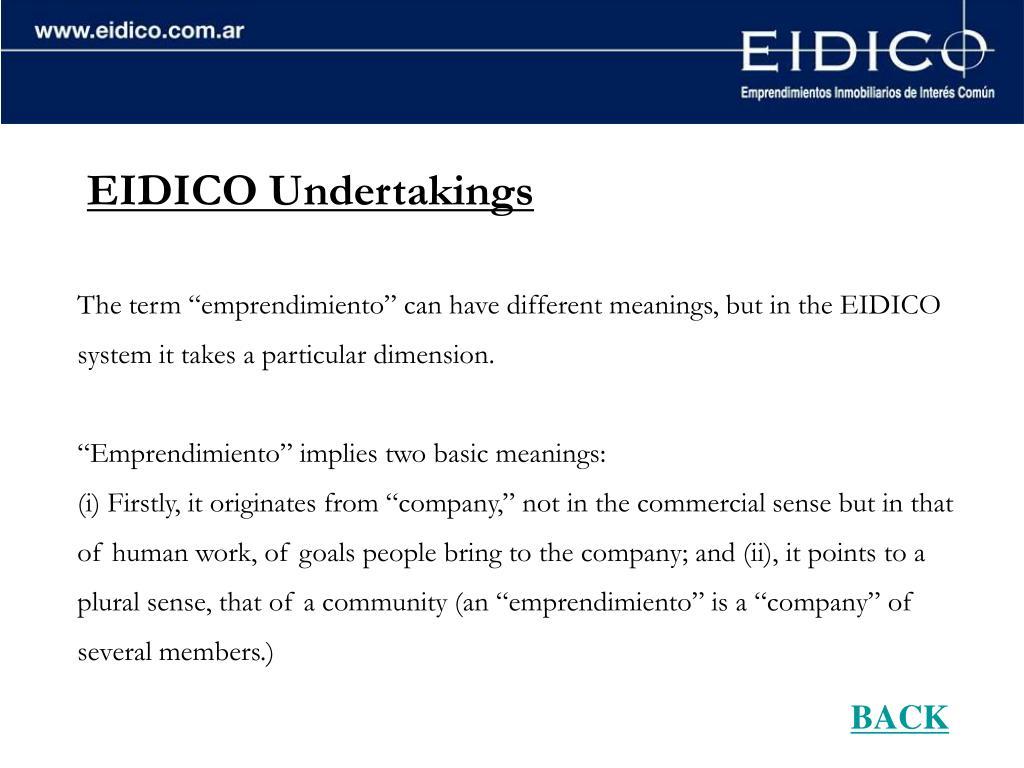 EIDICO Undertakings