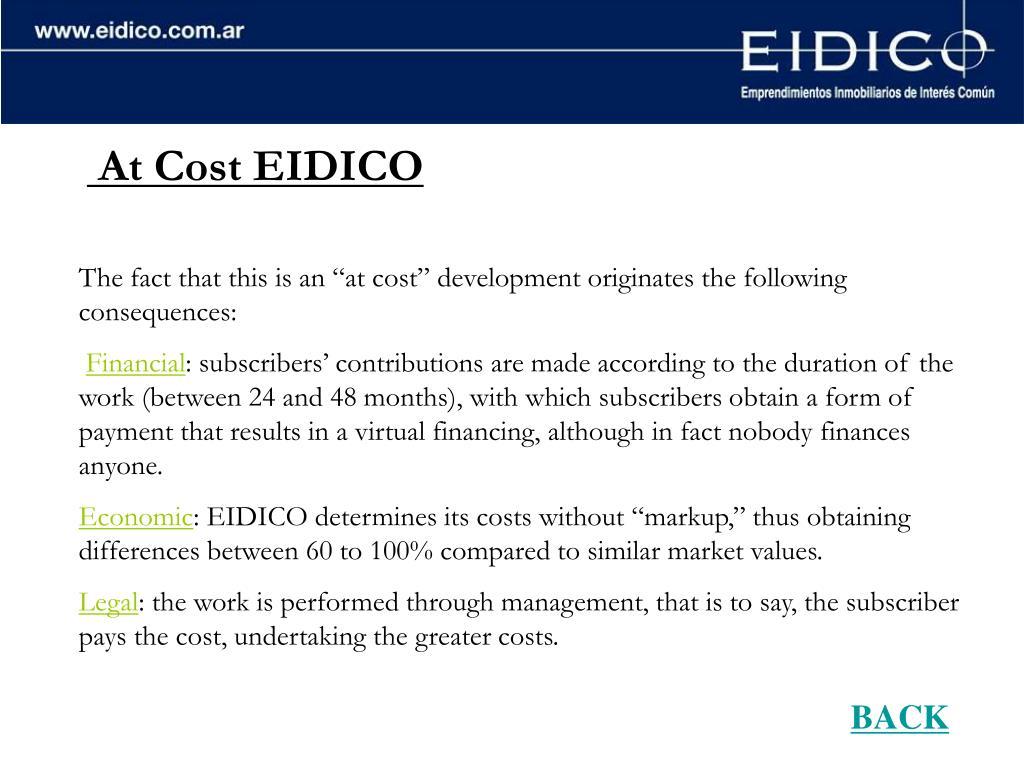 At Cost EIDICO
