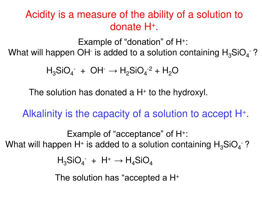 Acidity is a measure of the ability of a solution to donate H