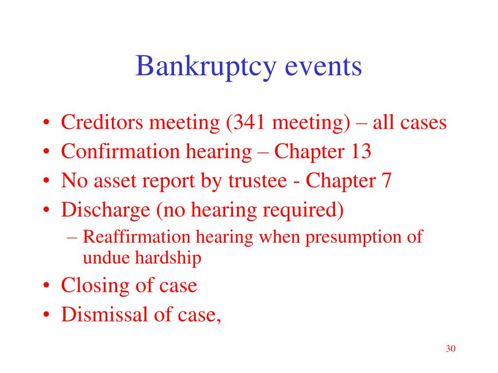 Bankruptcy events