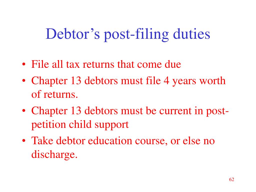 Debtor's post-filing duties
