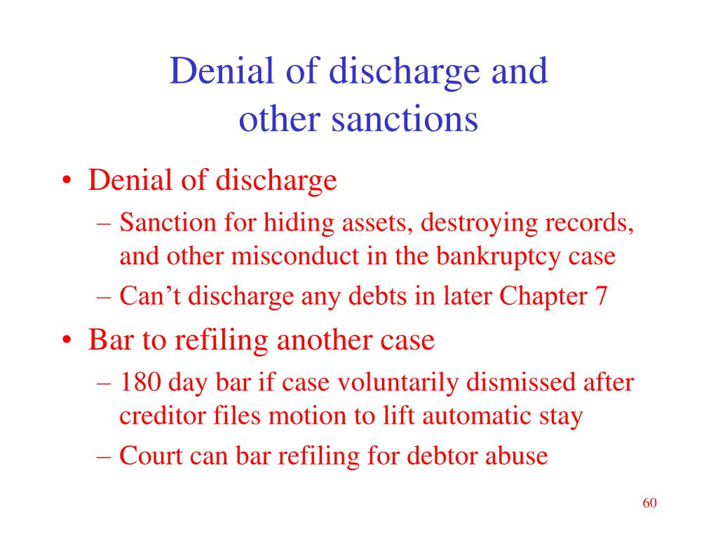 Denial of discharge and