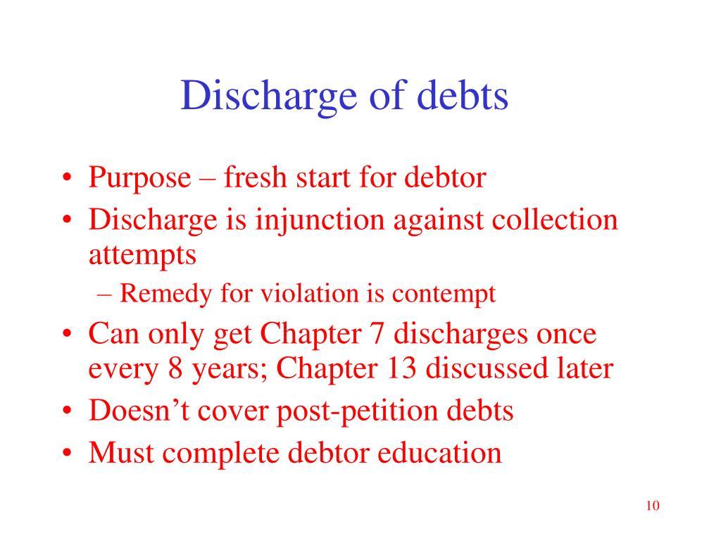 Discharge of debts