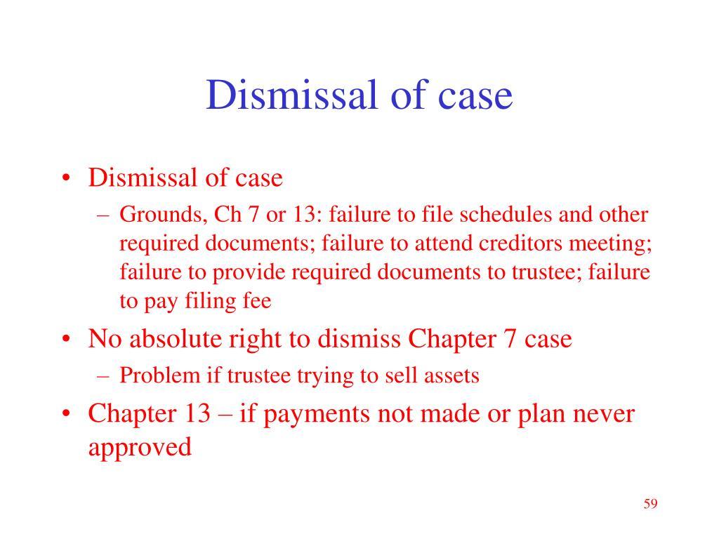 Dismissal of case