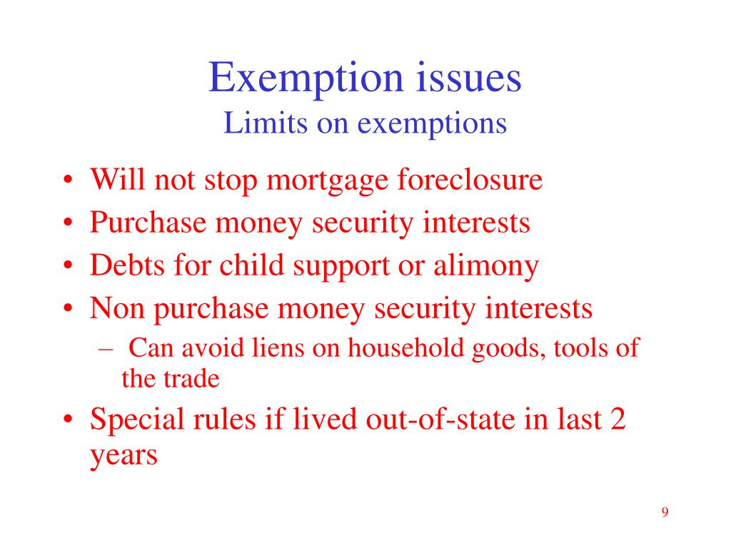 Exemption issues