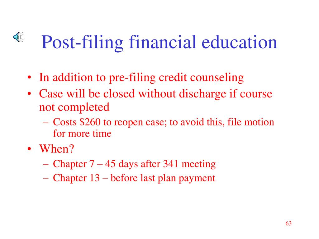 Post-filing financial education