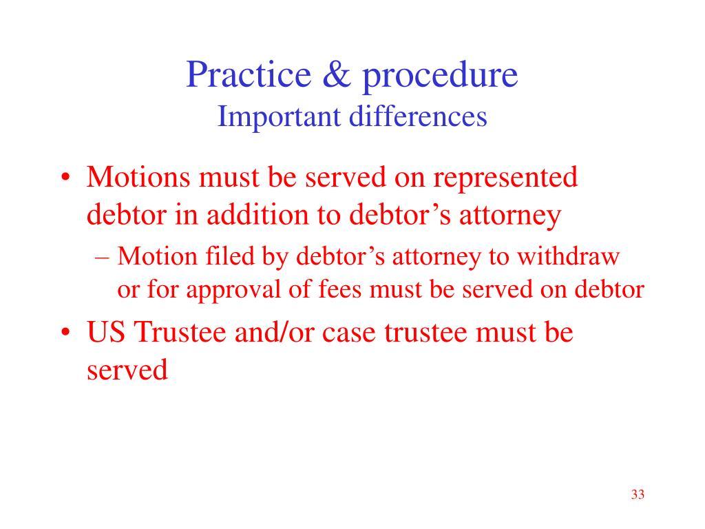 Practice & procedure