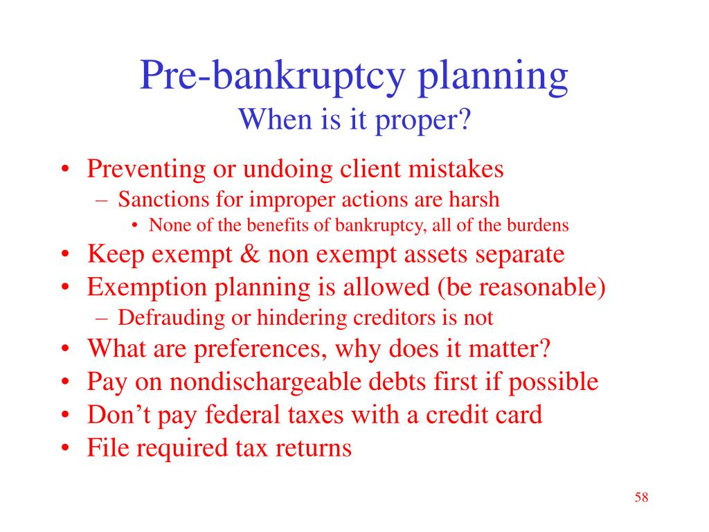 Pre-bankruptcy planning