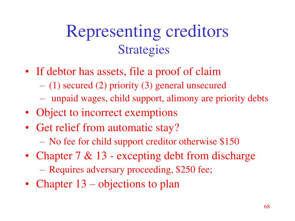 Representing creditors