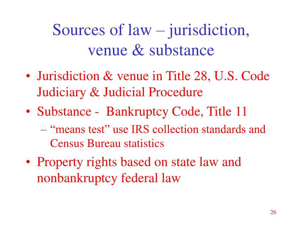 Sources of law – jurisdiction,