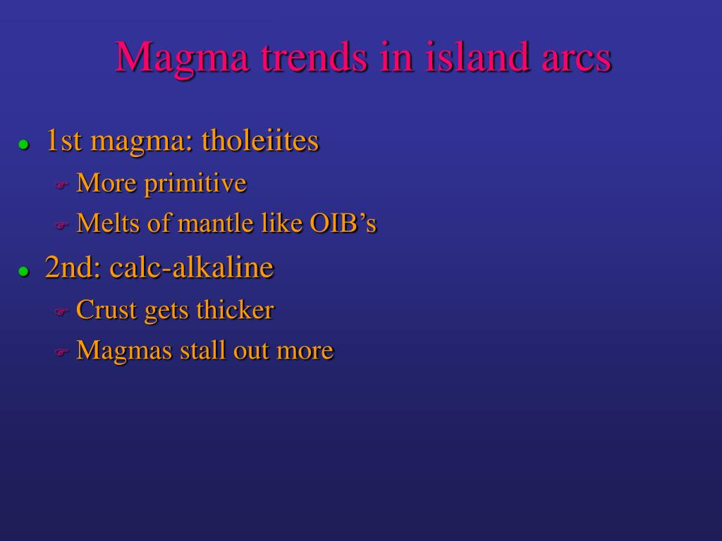 Magma trends in island arcs