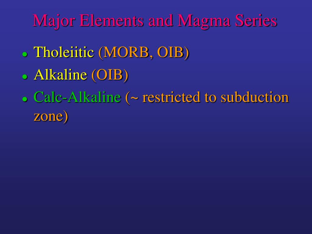 Major Elements and Magma Series