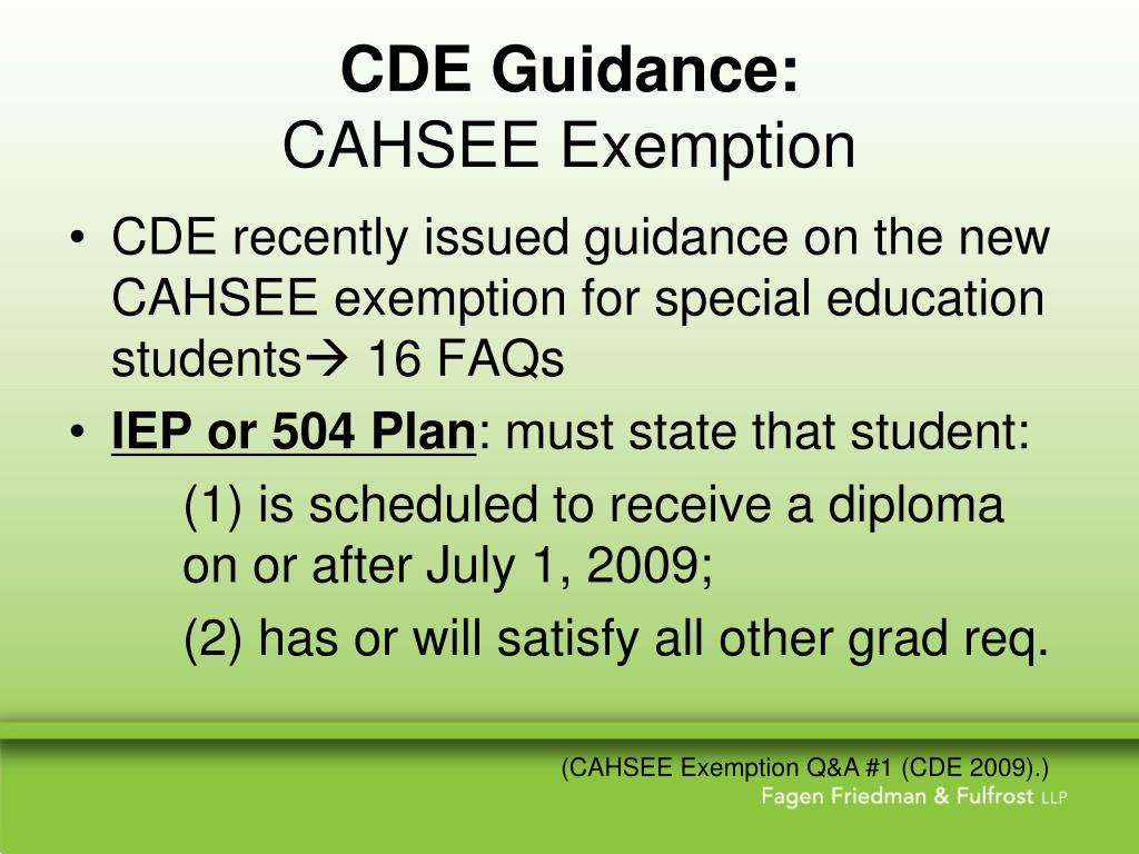 CDE Guidance: