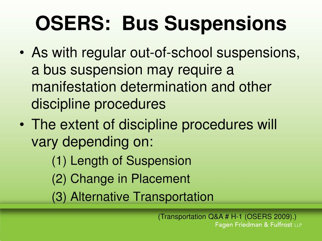 OSERS:  Bus Suspensions