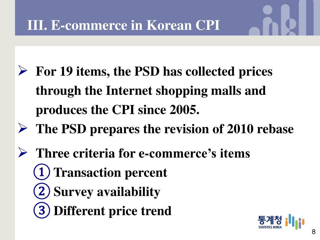 III. E-commerce in Korean CPI