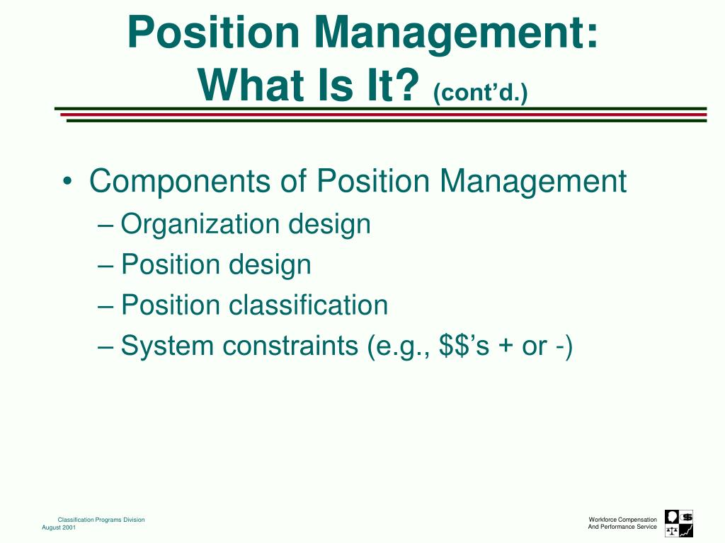 Components of Position Management