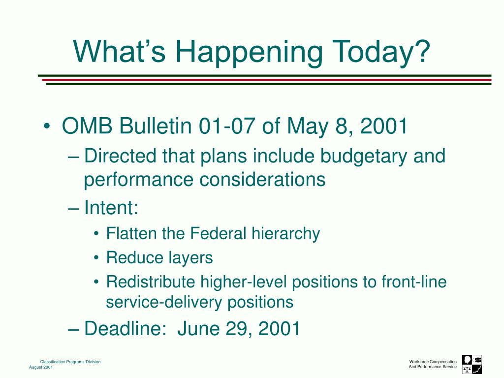 OMB Bulletin 01-07 of May 8, 2001