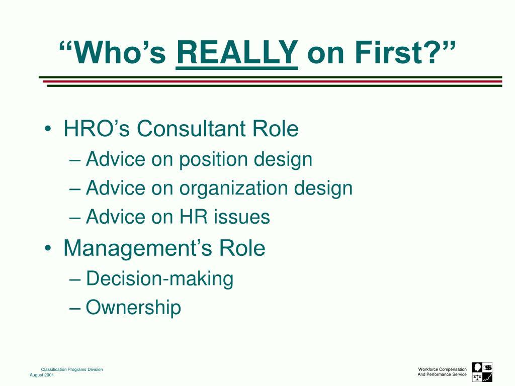 HRO's Consultant Role