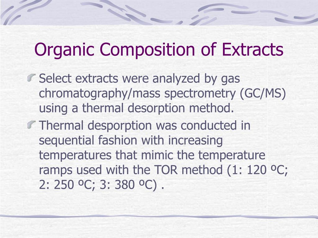 Organic Composition of Extracts