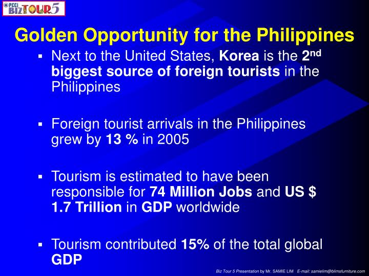 Golden Opportunity for the Philippines