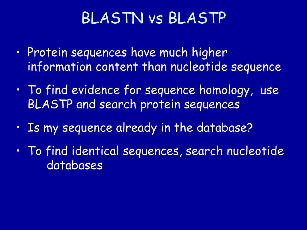 BLASTN vs BLASTP