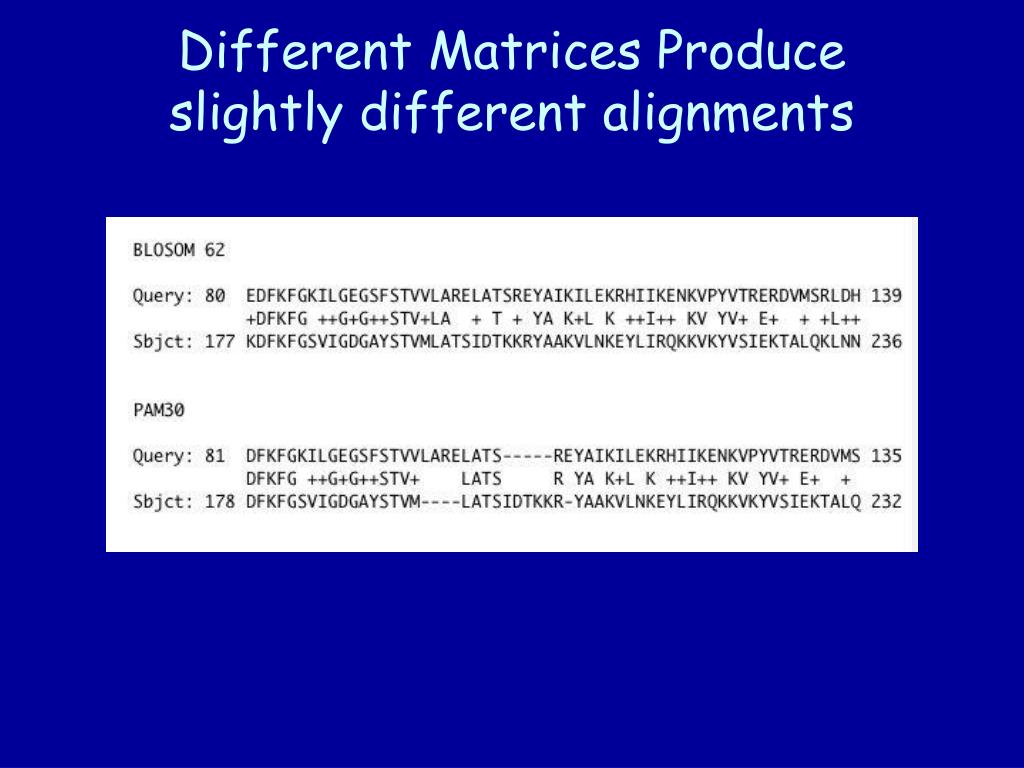 Different Matrices Produce slightly different alignments