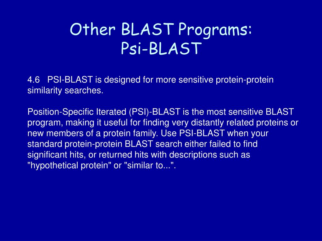 Other BLAST Programs: