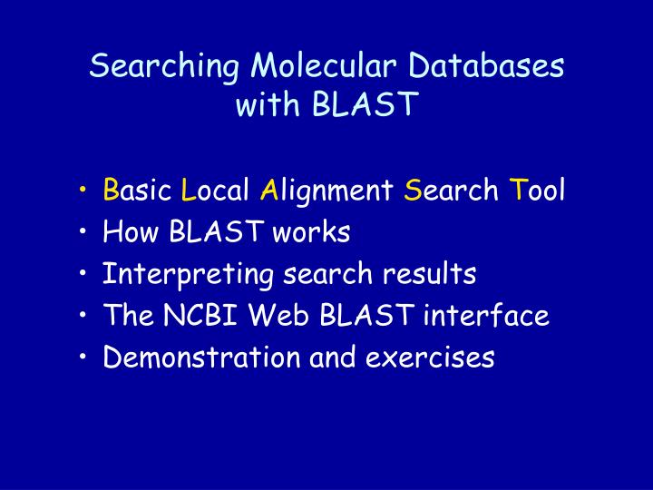Searching molecular databases with blast2