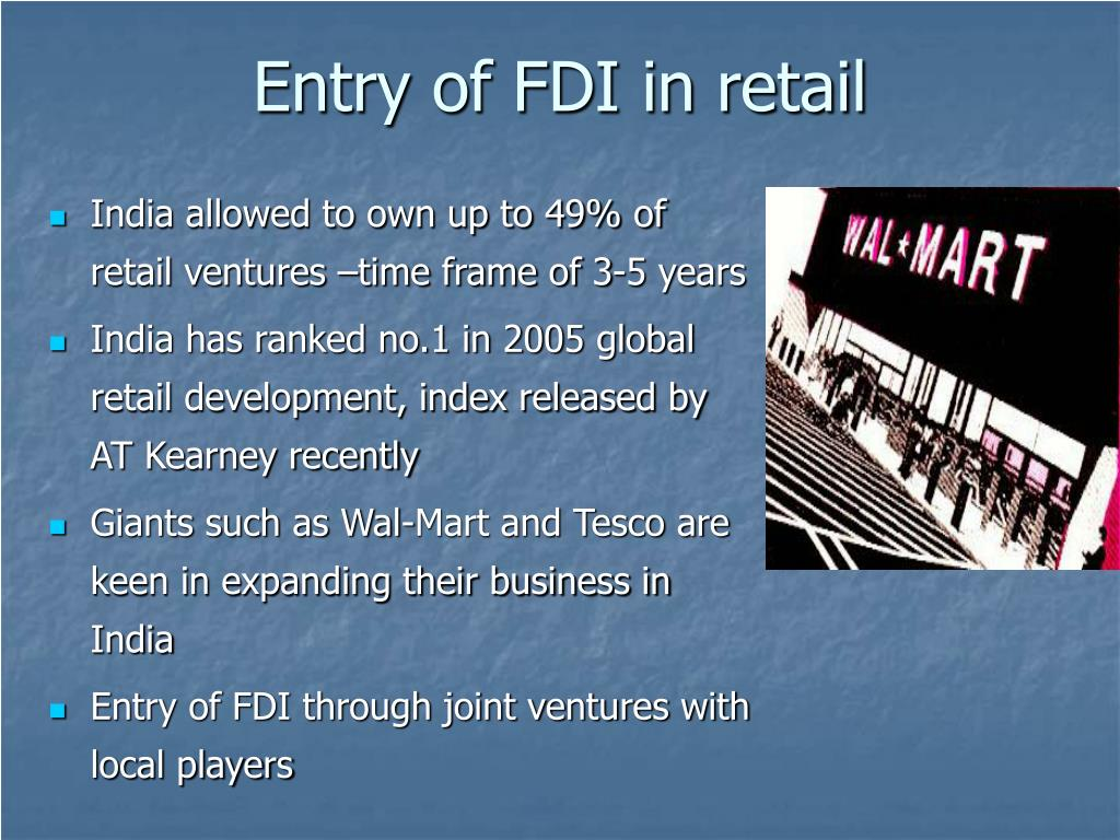 Entry of FDI in retail