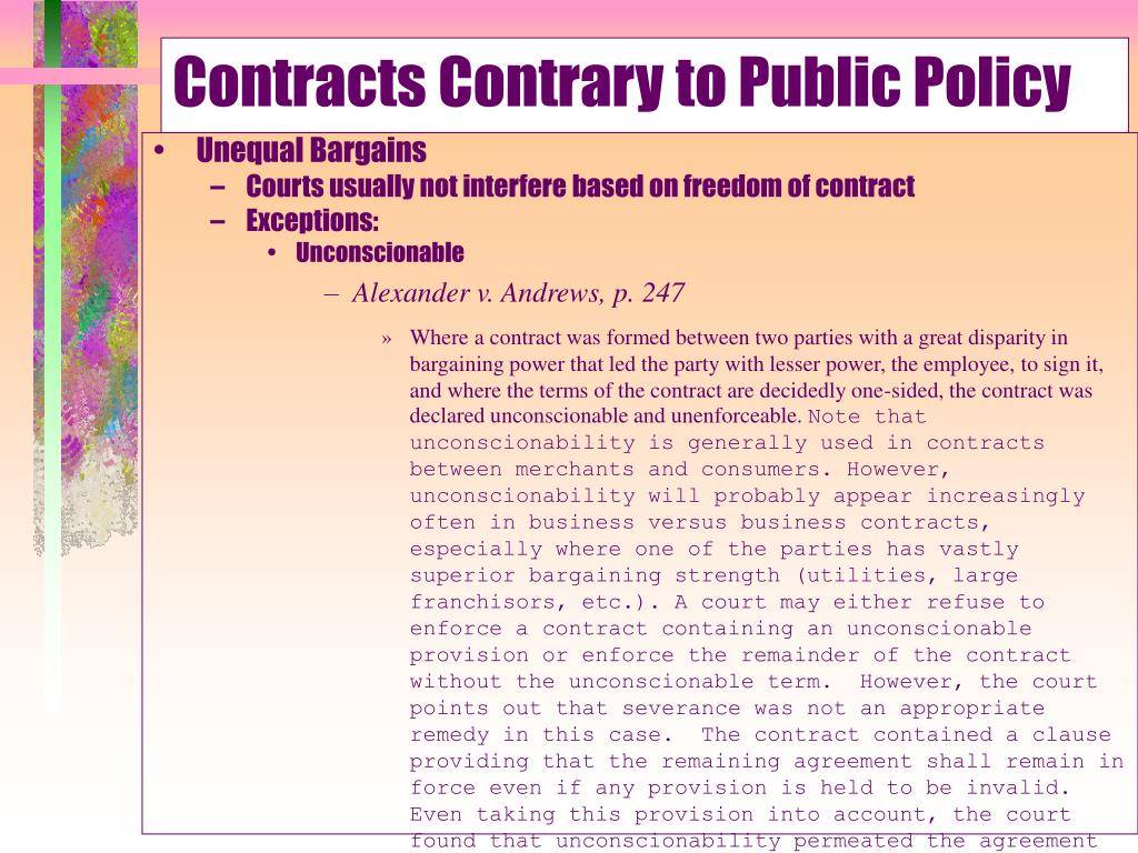 Contracts Contrary to Public Policy